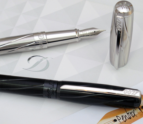 S T Dupont James Bond Spectre fountain pen in palladium and black PVD.