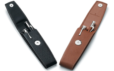 Black and brown leather pen cases for two pens.