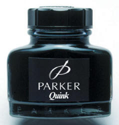 Bottle of Parker black ink.