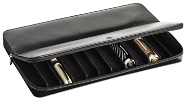 Leather Visconti pen case for keeping twelve pens.