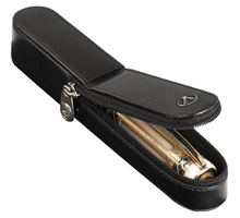 Visconti single black leather pen case.